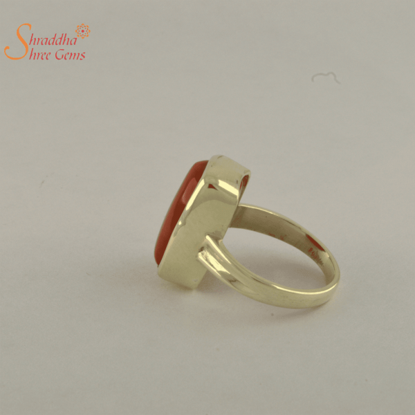 laboratory certified coral ring in panchdhatu