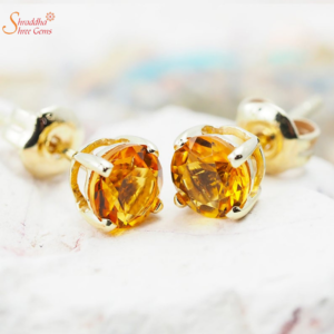 Glossy Natural And Certified Citrine Earring Tops In Serting Silver With Gold Plating
