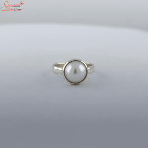 Natural And Certified Pearl (Moti) Ring In Sterling Silver | Silver Moti Ring