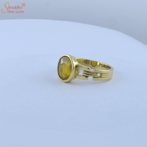 Natural And Certified Yellow Sapphire Ring / Pukhraj In Panchdhatu Or Sterling Silver | Yellow Sapphire Ring