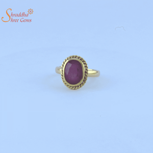 Laboratory certified ruby/manik ring in panchdhatu