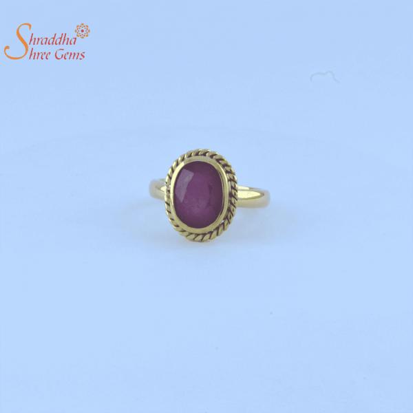 Laboratory certified ruby/manik ring in panchdhatu