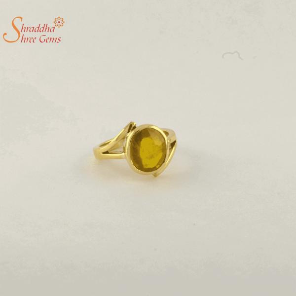 yellow sapphire ring in panchdhatu