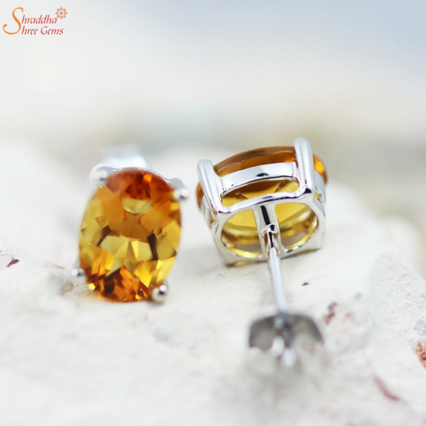 100% Natural And Certified Citrine Earring Tops