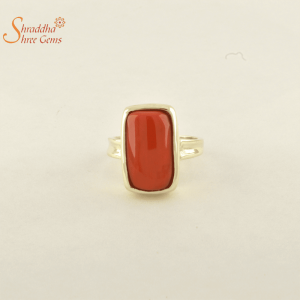 Laboratory Certified Coral/Munga Ring In Panchdhatu | Silver Munga Ring