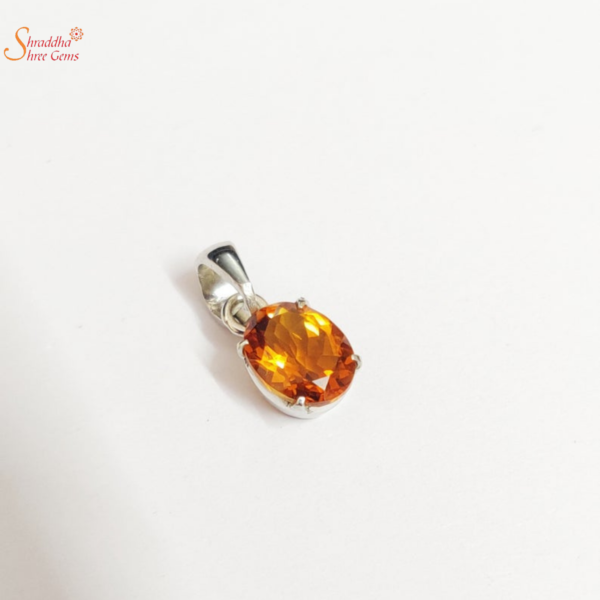 oval shape citrine necklace in sterling silver