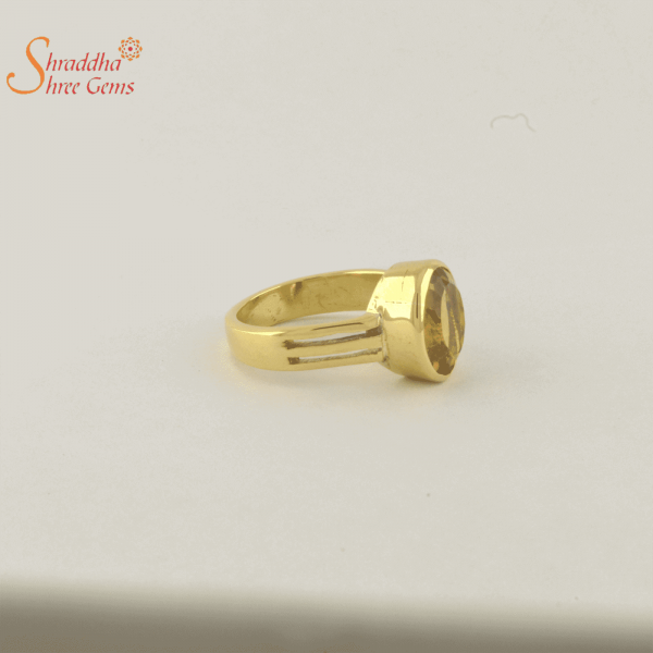 natural citrine ring in panchdhatu