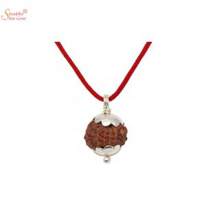 Natural And Certified 10 Mukhi/Face Rudraksha Pendants In Sterling Silver