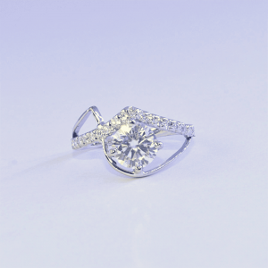 Brilliant Cut Moissanite Anniversary Ring Made in Sterling Silver Ring, Girlfriend Ring, Gift Ring