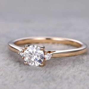 Gold Plating Moissanite Diamond Ring In Sterling Silver