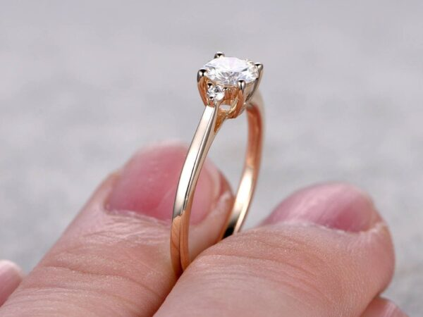 gold plating moissanite ring in sterling silver