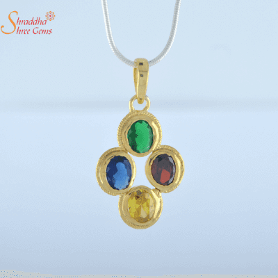 blue sapphire, yellow sapphire, emerald, and hessonite garnet pendant