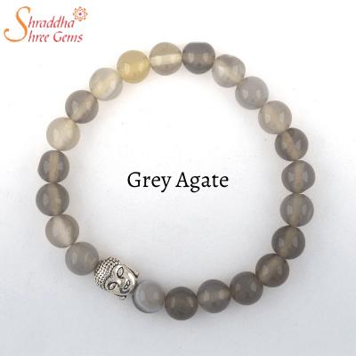 grey agate gemstone bracelet