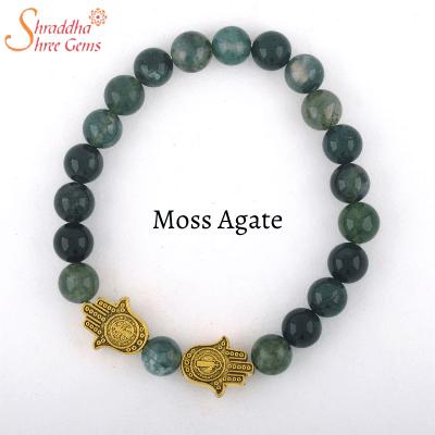 natural moss agate gemstone bracelet