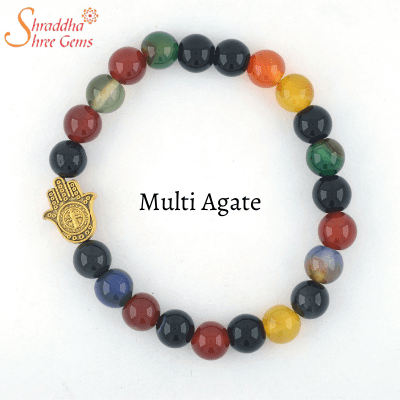 natural multi agate gemstone bracelet