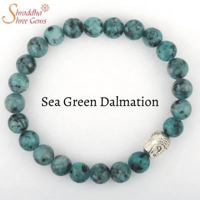 natural sea green dalmation gemstone bracelet