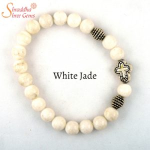 Natural White Jade Gemstone Bracelet