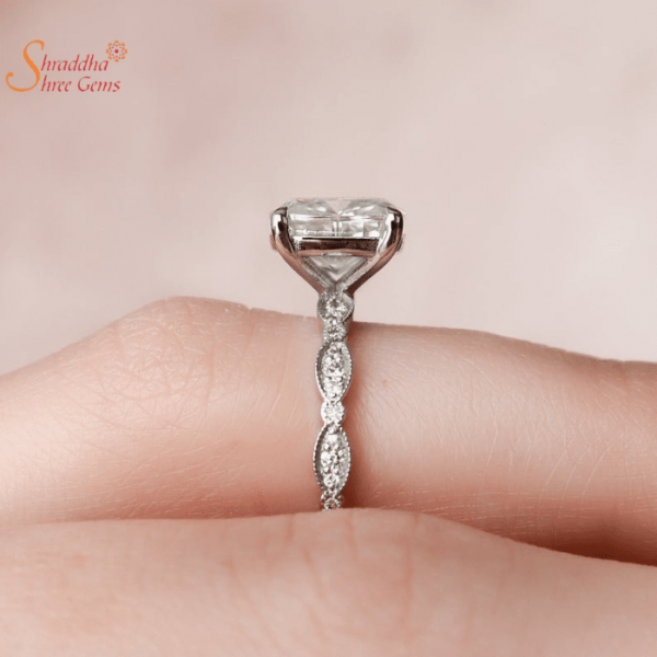 Solitaire Moissanite Diamond Ring In Gold