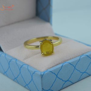 Silver And Gold Yellow Sapphire Ring