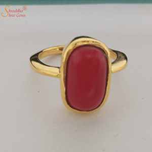 Coral Gemstone Ring In Gold And Panchdhatu