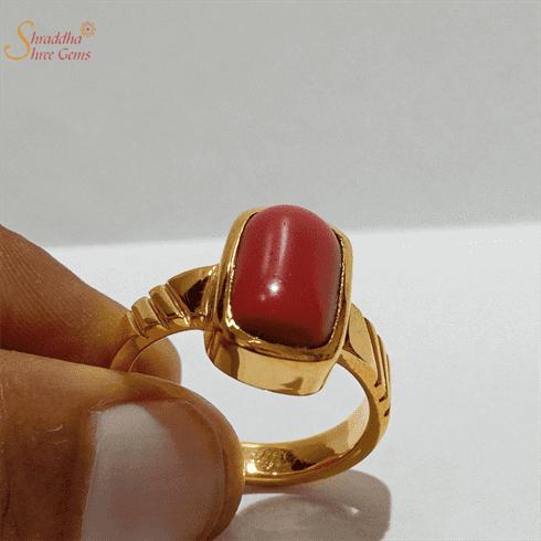 Natural Coral Ring, Moonga Ring