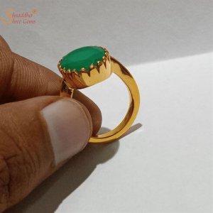 Natural Green Onyx Gemstone Ring