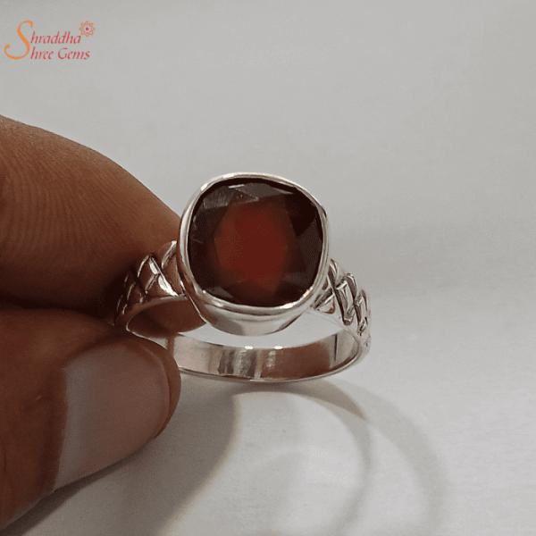 Certified Hessonite Garnet Ring, Gomed Ring